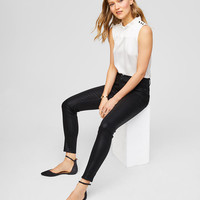 Modern Coated Skinny Jeans in Black | LOFT