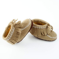 Peppercorn Kids Fringe Moccasin - Olive