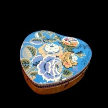 """Empty Brighton Jewelry Necklace Tin Box WITH BAG 3 3/4"""" Inches Heart Floral Design Package Collectible Tin Box With Quote Wedding Gift"""