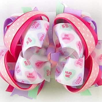 Valentine's Day bow, Conversation Hearts bow, Candy hearts bow, Pink and purple hair b
