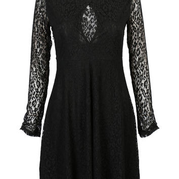 Black Cut Out Front Sheer Mesh Lace Lined Skater Dress