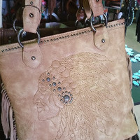 Western Brown Indian Head Purse