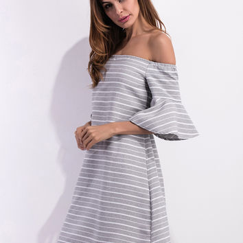 Gray Stripe Off Shoulder Ruffle Sleeve Dress