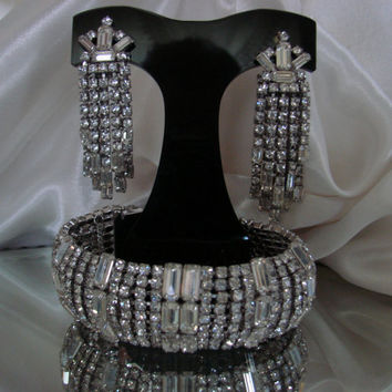 50s Weiss Demi Parure ( Baguette Rhinestone Bracelet & Chandelier Earrings)