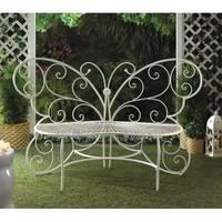 Beautiful White Butterfly Garden Bench