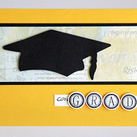 Graduation Congratulations Card, Handmade Greeting Card with Graduate's Cap, Black and Yellow Notecard, High School and College Graduation
