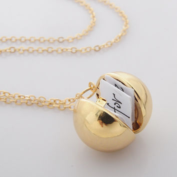 Custom Handmade Secret Message Ball Locket Necklace Friendship Best Friend Women Men Holiday Gifts