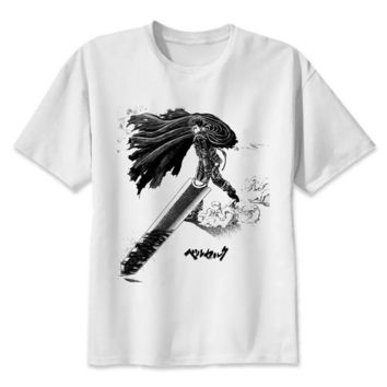 berserk TShirt men boy Summer O Neck white youth t shirt casual white print anime t-Shirts men top tees M8081