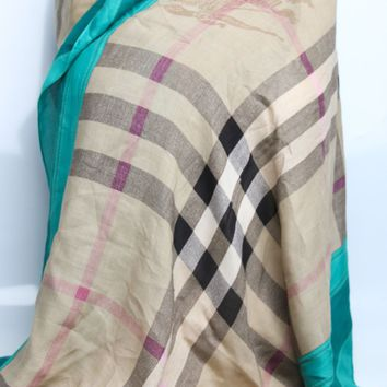 NEW Authentic Burberry $565 Kelly Green Haymarket Check Border WRAP SHAWL SCARF