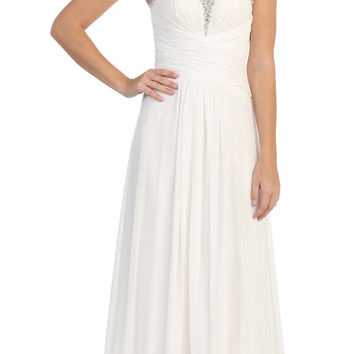 Studded Sweetheart Neck Ivory Long A Line Prom Strapless Gown