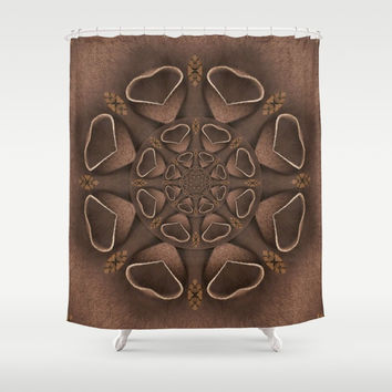leather fantasy flower in mandala style Shower Curtain by Pepita Selles