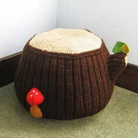 Knit Tree Stump Ottoman Pattern Digital Download