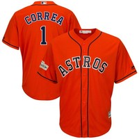 Men's Houston Astros Carlos Correa Majestic Orange 2017 Postseason Cool Base Player Jersey