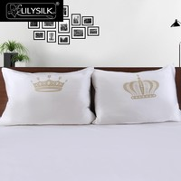 Printed King Queen Silk Pillowcases For Couple 19 Momme Love Gift NEW Free Shipping