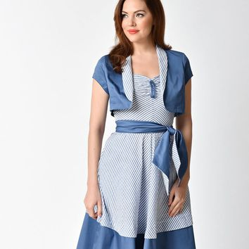 Unique Vintage 1940s Style Blue Short Sleeve Duke Bolero