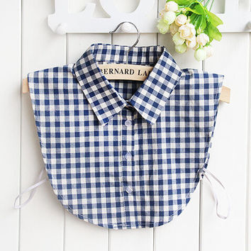 Women's Fashion Plaids False Collar