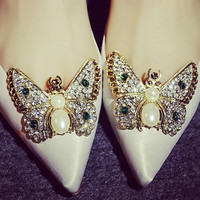 Summer Pointed Toe Butterfly Rhinestone Height Increase With Heel Shoes [4919872772]