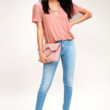 Lighten the Mood Blush Pink Criss Cross Top