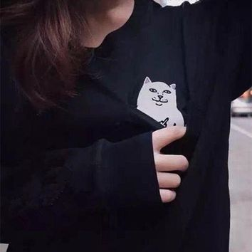 RipNdip Middle finger cheap cat sweater men and women hip hop Harajukon BF wind couple plus cashmere jacket