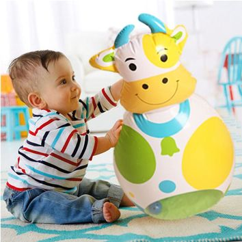 Cute Stand Up Cow & Bear Inflatable Tumbler Inflatable Boxing Punching Bop Bag Child Toy Birthday Gift Party Supply Blow Up Toy