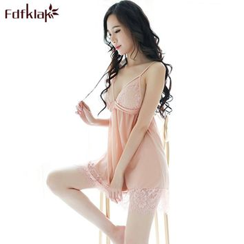 Fdfklak Lingerie Sexy 2018 Black/Pink Lace Spaghetti Strap Nightgowns Sleepshirts Nightgowns For Girls Sleeveless Sleepwear Q631