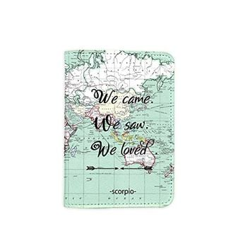 We Came We Saw We Loved World Map [Name Customized] Leather Passport Holder - Leather Passport Cover - Travel Accessory- Travel Wallet for Women and Men_SCORPIOshop