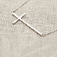 Fashion Cross Chain Necklace in Silver from LOOBACK