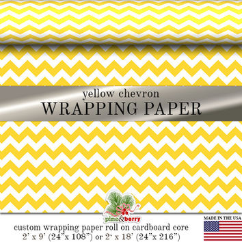 Yellow Chevron Custom Premium Wrapping Paper   Yellow Zig Zag Gift Wrap In Two Sizes Great For Any Occasion. Made In The USA