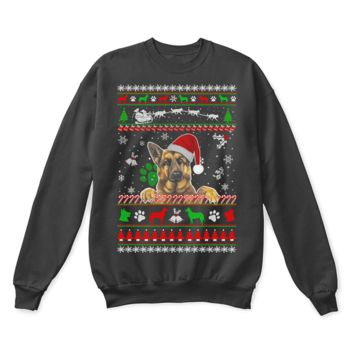VON6YG German Shepherd Dog Waiting For Christmas Ugly Sweater