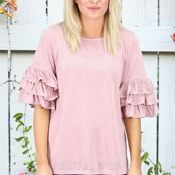 Layered Ruffle Short Sleeve Lightweight Knit {Rose}