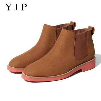 YJP Chelsea Boots For Women, Black/Red/Brown/Green Vintage Ankle Boot, Ladies Light Platform Flat Shoes/Flats, Bota Feminina