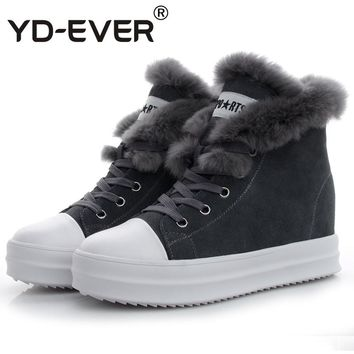 YD-EVER genuine leather women snow boots platform height increasing wedge High Top casual shoes real rabbit fur sneakers winter