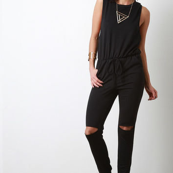 Muscle Top Slit Knee Jersey Jumpsuit