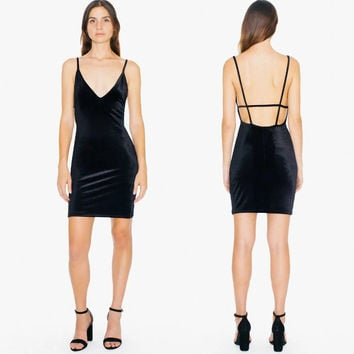 Women Velvet Bixel Dress Deep V Neck Fitted Bodycon Mini Dresses Low Back With Caged Strap Details Spaghetti Straps Dress