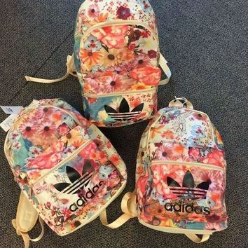 LMFUP0 Adidas Fashion Flowers Print School Satchel Shoulder Bag Backpack