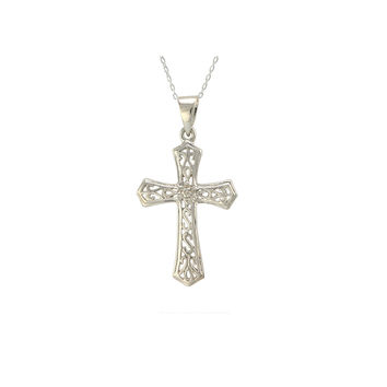 "Sterling Silver Cross Necklace with Diamond Accents, 18"" (.02 cttw, I-J, I2-I3)"