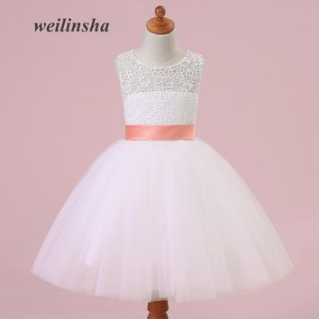 weilinsha Lace Sashes Flower Girl Dresses Tulle Floor Length Ball Gown Wedding Communion Dress Custom Made Vestido de Daminha
