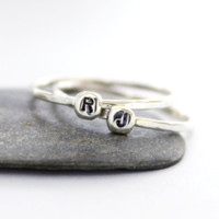 Personalized & Custom Ring/ Tiny Custom Initial Letter Ring/ Cute Personalized Ring/ Stacking Ring/ Hammered Ring/ Everyday Ring