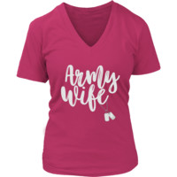 Army Wife Shirts - Army Wife Shirt With Dog Tags - Shirts For Army Wives to 4XL - Womens V Neck Shirt