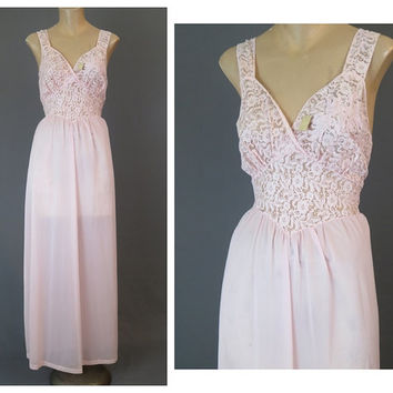 Unworn 1950s Pink sz 38 bust Michelene Nightgown - Pink Nylon with Lace appliques - Vintage NOS