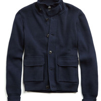 Italian Cotton Sweater Jacket in Navy