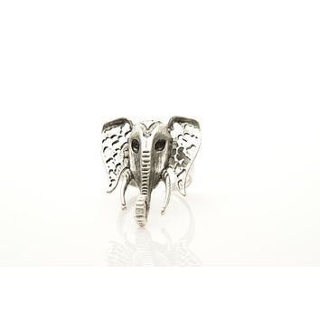 Elephant Silver Plated Adjustable Ring