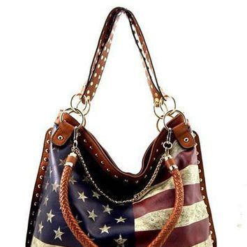 US Flag Vintage Print Chain Decorated Hobo Handbag