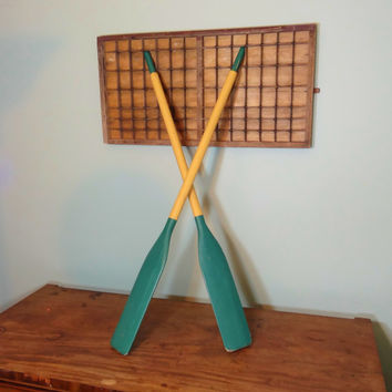 Set of Vintage Oars, Rowing Decor, Man Cave Wall Hanging, Sports Decor, Nautical