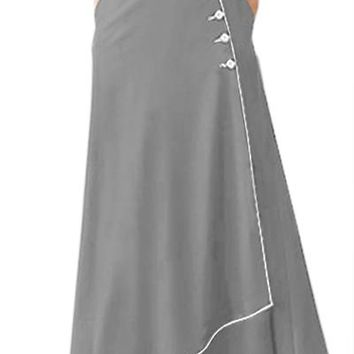 Chicloth Grey Piped Button Embellished High Waist Maxi Skirt