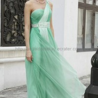 One Shoulder Green Evening Dress in Stock