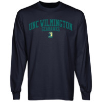 UNC Wilmington Seahawks Team Arch Long Sleeve T-Shirt - Navy Blue