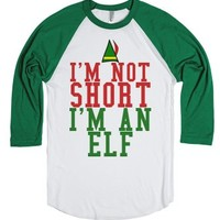 I'm Not Short I'm An Elf Baseball Shirt-White/Evergreen T-Shirt