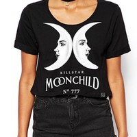 Kill Star Cropped T-Shirt With Moon Child Print - Black