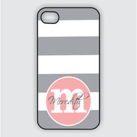 Monogram iPhone 5 Case - Grey Stripes / Pink Monogram - iPhone Case, Monogram iPhone Case, iPhone 5 Case, iPhone 5 Cover IPHONE 5